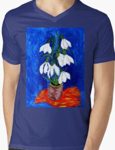 Snowdrop Flowers Painting Mens V-Neck T-Shirt