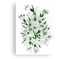 Snowdrop Flowers Painting 2 Canvas Print