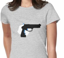 Woman's Hand on a Gun Womens Fitted T-Shirt