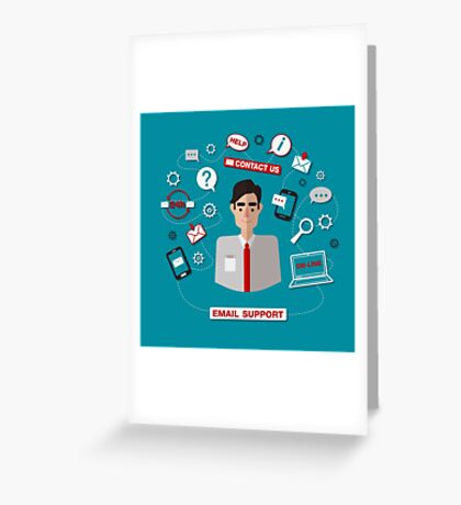 Technical Email Support Service with Man. Online Service.  Greeting Card