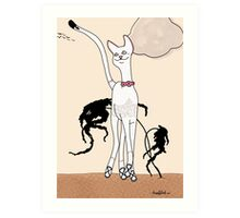 Caroline, Art Deco Cat Art Print