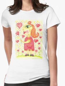 Watercolor girl in love portrat Womens Fitted T-Shirt