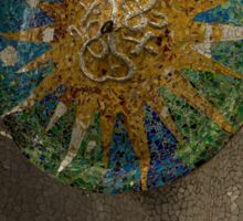 Stylized Sun - Antoni Gaudi Ceiling Medallion at Hypostyle Room in Park Guell - Right Vertical Sticker