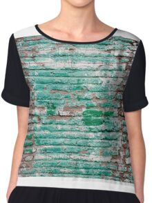 Green brick wall painted in the past Chiffon Top
