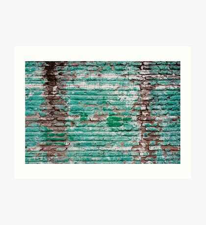 Green brick wall painted in the past Art Print