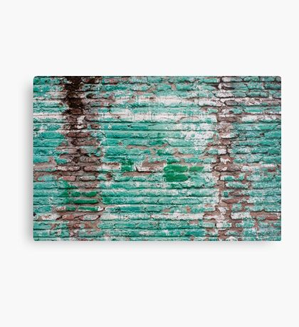 Green brick wall painted in the past Metal Print