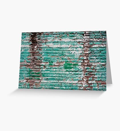 Green brick wall painted in the past Greeting Card
