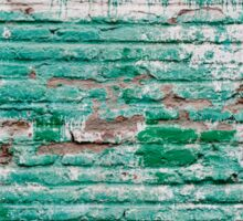 Green brick wall painted in the past Sticker
