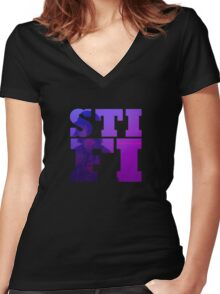 Sticky Fingers Logo - Outcast At Last Women's Fitted V-Neck T-Shirt