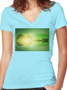 "Guitar island ""jungle"" Women's Fitted V-Neck T-Shirt"