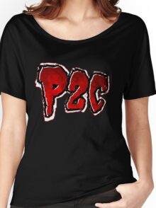 P2C - Red Black 'n White Logo Women's Relaxed Fit T-Shirt