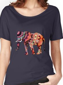 Colorful Orange and Blue Ornate Floral Elephant Women's Relaxed Fit T-Shirt