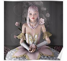 Surreal portrait of a beautiful ballerina with roses and jewels Poster
