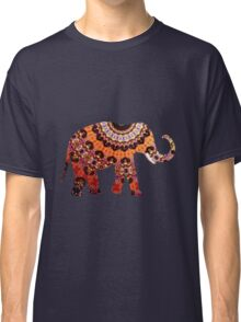 Colorful Orange and Black Ornate Floral Elephant Classic T-Shirt