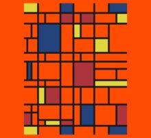 Modern Art Red Yellow Blue Grid Pattern Kids Tee