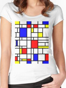 Modern Art Red Yellow Blue Grid Pattern Women's Fitted Scoop T-Shirt