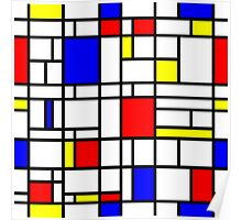 Modern Art Red Yellow Blue Grid Pattern Poster