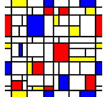 Modern Art Red Yellow Blue Grid Pattern Photographic Print