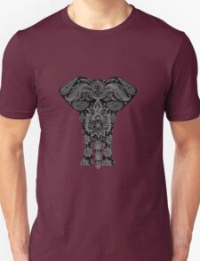 Awesome Black and White Floral Elephant Pattern Unisex T-Shirt