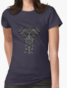 Awesome Black and White Floral Elephant Pattern Womens Fitted T-Shirt