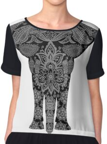 Awesome Black and White Floral Elephant Pattern Chiffon Top