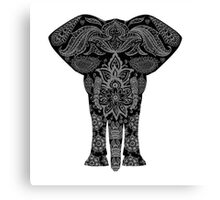 Awesome Black and White Floral Elephant Pattern Canvas Print