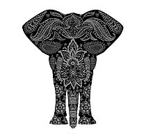 Awesome Black and White Floral Elephant Pattern Photographic Print