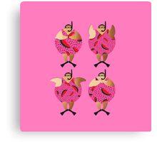 Pink Snorklers in Watermelon spots Canvas Print