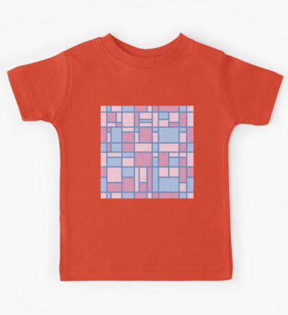 Modern Art Pastel Pink Blue Grid Pattern Kids Tee