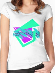 90's abstract vaporwave aesthetics Women's Fitted Scoop T-Shirt