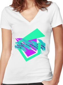 90's abstract vaporwave aesthetics Women's Fitted V-Neck T-Shirt
