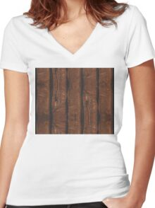 Rustic brown old wood Women's Fitted V-Neck T-Shirt