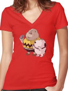 fat snoopy Women's Fitted V-Neck T-Shirt