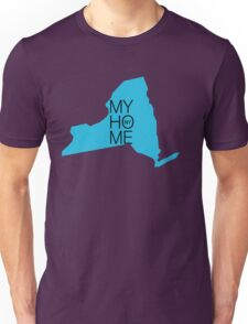 New york my home. State map NY Unisex T-Shirt