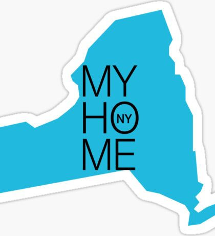 New york my home. State map NY Sticker