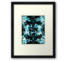 Electrifying blue sparkly triangle flames Framed Print