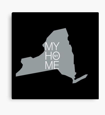 New york my home. State map NY (dark) Canvas Print