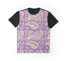 Oriental Persian Paisley, Flowers - Purple Yellow Graphic T-Shirt