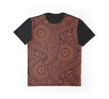 Oriental Persian Paisley, Flowers - Red Orange Graphic T-Shirt