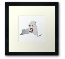 New York my home. State map NY red hearth Framed Print