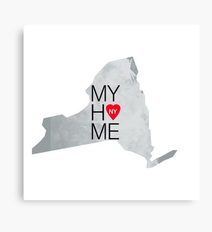 New York my home. State map NY red hearth Canvas Print