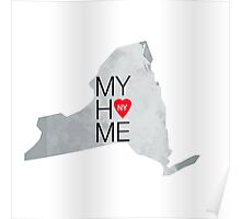 New York my home. State map NY red hearth Poster