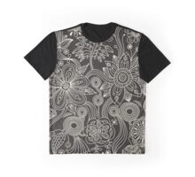 Oriental Persian Paisley, Dots - Black White Graphic T-Shirt