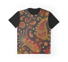 Oriental Persian Paisley - Green Yellow Red Graphic T-Shirt