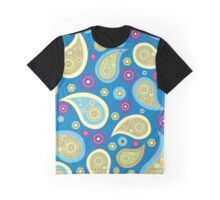Oriental Persian Paisley, Flowers - Blue Green Graphic T-Shirt