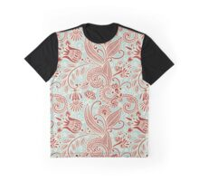 Oriental Persian Paisley, Swirls - Red Blue  Graphic T-Shirt