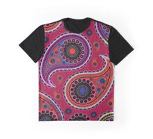 Oriental Persian Paisley, Dots - Red Blue Pink Graphic T-Shirt