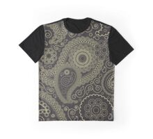 Oriental Persian Paisley, Swirls - Black Yellow  Graphic T-Shirt