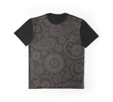 Oriental Persian Paisley, Flowers - Black Beige  Graphic T-Shirt