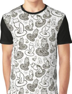 Print with cats sketches Graphic T-Shirt